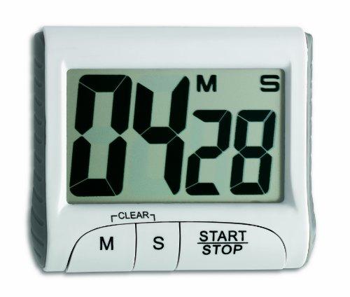 TFA Dostmann Digitaler Timer, 38.2021, Stoppuhr, klein und handlich, elektronisch, weiß