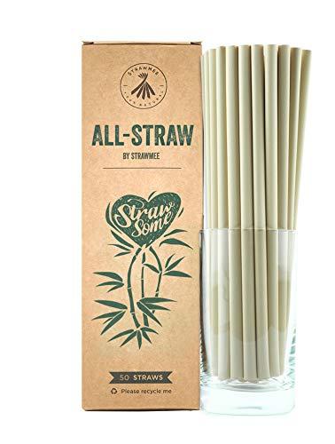 Strawmee All-Straws, Bio Einweg Strohhalme aus natürlichen Pflanzenfasern, nachhaltige Eco Alternative zu Plastik und PLA, jumbo 8mm, kompostierbar, für Cocktails, Gastronomie, Cafés, Bars und Hotels