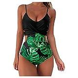 BañAdores Mujer Reductores Bañador Mujer Sexy Bikini Ropa de Baño de Una Pieza Multicolor Traje de BañO Mujer de Una Pieza Verano Elegante BañAdor Mujer Push Up con Control de Barriga (Verde, XL)