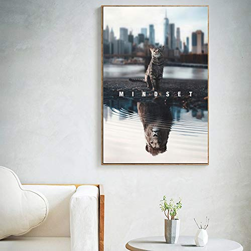 hetingyue The Mentality of HD Text Animal Prints on Canvas is All Motives cat Lion Picture Canvas Art Frameless Painting 80X111CM