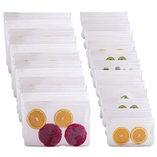 Bolsas de almacenamiento reutilizables IDEALUX de grado FDA, impermeables, reutilizables, a prueba de fugas, para congelador, bolsas de almuerzo de PEVA de grado alimenticio para sándwich y frutas