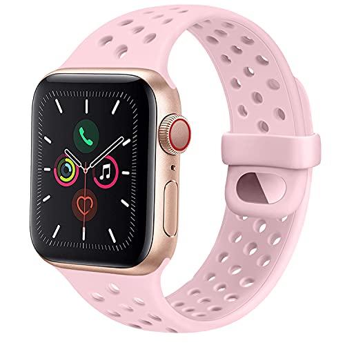 CTZL Correa Compatible con Apple Watch 44mm 42mm 40mm 38mm, Pulseras de Repuesto de Silicona Suave para iWatch Series SE 6 5 4 3 2 1 Mujer Hombre (42mm/44mm S/M, Rosa)