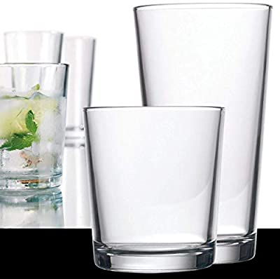 Home Essentials 9650 Alanya 16 Pieces Drinkware Set, Clear
