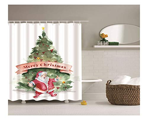 AnazoZ Duschvorhang Anti-Schimmel, Wasserdicht Vorhänge an Badewanne Antibakteriell, Bad Vorhang für Dusche 3D Weihnachtsmann Weihnachtsbaum, 100% PEVA, inkl. 12 Duschvorhangringen 165 x 180 cm