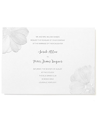 BRIDES Silver Foil Floral Print at Home Invitation Kit