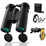 BFULL 10x42 Compact Binoculars for Adults, Powerful Binoculars with 21mm Large View Eyepiece, BAK4 Prism FMC Lens Binoculars for Bird Watching Hunting - Waterproof