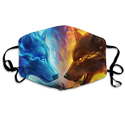 Winter Norse Wärmer, EIS und Feuer Flamme Wolf Blau Gelb Anti Staub Gesichtsbedeckung Mund