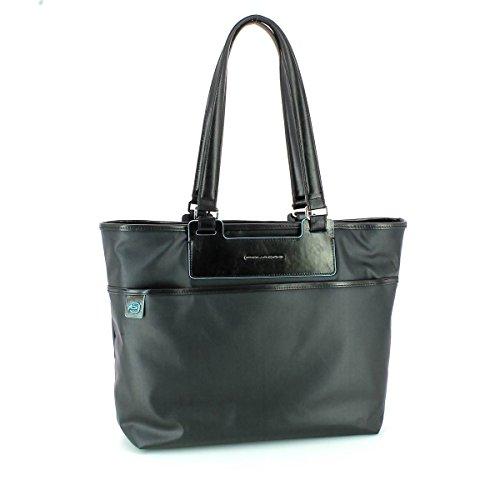 Piquadro Shopping, Collezione Aki, in Pelle e Tessuto, 45 cm, Nero