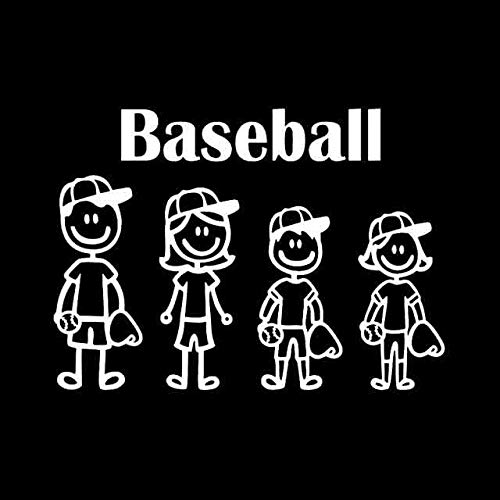 BJDKF 17,5 cm * 12,6 cm Baseball Strichmännchen Familie Vinyl Aufkleber Auto Aufkleber Turck Fenster Schwarz/Silber C3-2266 Silber