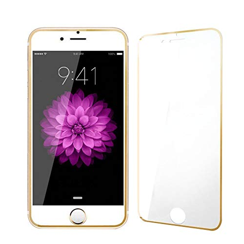 LINASHI Full Screen Protector, Full Covered Tempered Glass Film Screen Protector Compatible with iPhone 6 6S 7 Plus Golden Compatible with iPhone 7 4.7