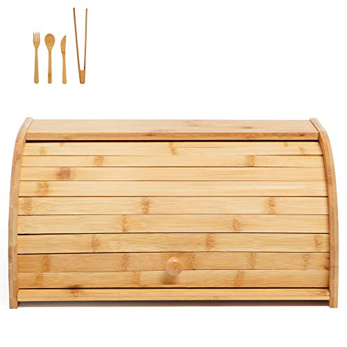 Wooden Bread Box Bamboo Roll Top Bread Holder Large Capacity Bread Organizer Food Storage Bin for Kitchen Counter Top, Pantry