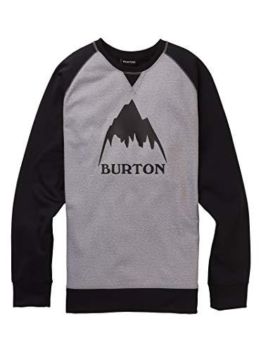 Burton Herren Crown Bonded Fleece Pullover, Gray Heather/True Black, XL