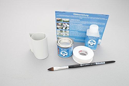 Set: Rutenhalter Lasche + Kleber Kit, zum aufkleben für Schlauchboote (grau)