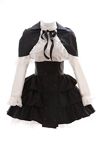 JL-574 Schwarz Weiß Classic Gothic Lolita Cape Bluse Rock Kostüm Set Kleid Dress Cosplay (EUR Gr. S)