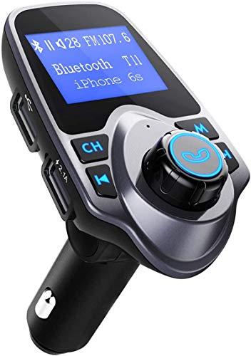 VicTsing-Kfz Bluetooth Freisprechanlage FM Transmitter, Kfz MP3Player, Radio, 1.44Zoll Adapter Ladegerät KFZ-USB-gris