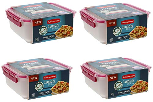 Rubbermaid LunchBlox Leak Proof Small Entree Container with Lid-BPA Free, Stackable Lunch Box with Airtight Seal and Durable Latches-Great for Home, School Lunches, On the Go - 2.6 Cup, Coral (4 Pack)