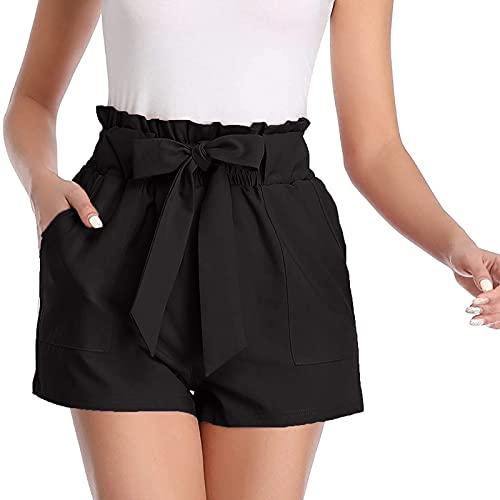 Mujeres Shorts de Color Sólido con Cordón Bowknot Pantalones Cortos Elegante con Bolsillos Pantalón Corta Suelta y Cómodo Pantalones Cortos Casual Verano Pantalones Cita,Fiesta,Playa