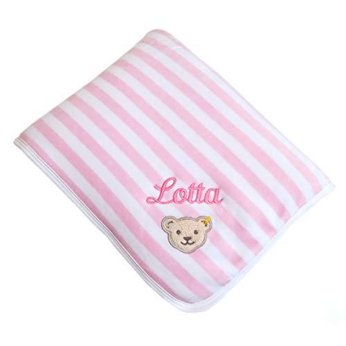 Steiff Babydecke mit Ihrem Wunsch-Namen Bestickt aus Nicki-Velours rosa / weiß gestreift 90 cm x 60 cm personalisierte Nickidecke