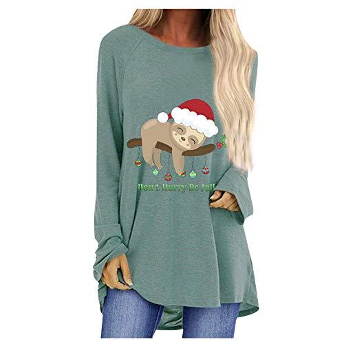 Best Bargain Gwewei4df Womens Plus Size Long Sleeve Casual Christmas Cute Print Sweatshirt Pullover ...