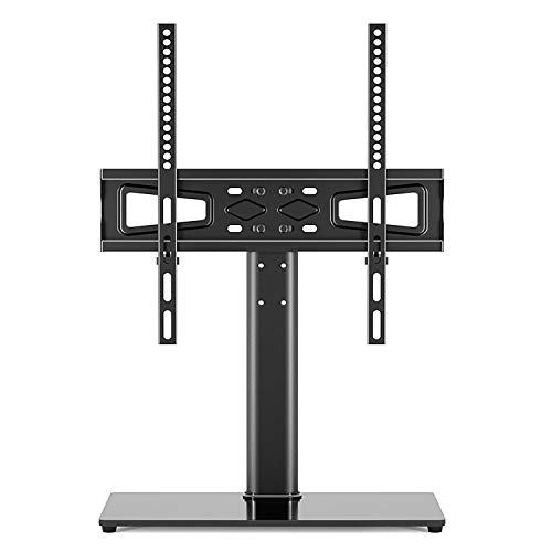 Universal TV Stand Table Top TV Stand for 2755 inch LCD LED TVs  Height Adjustable TV Base Stand with Tempered Glass Base amp Wire Management BlackVESA 400x400mm