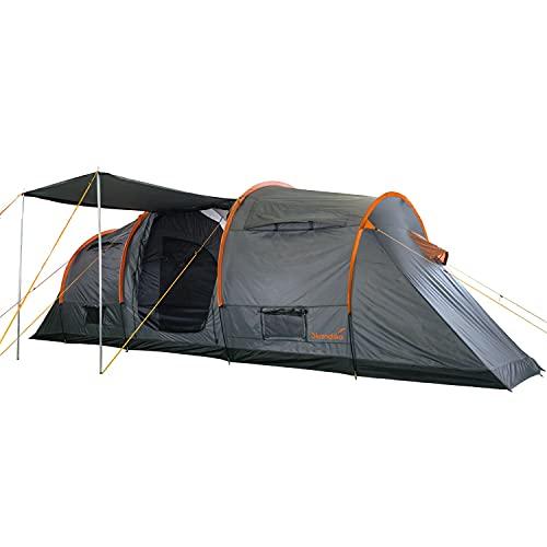 Skandika Trivelig Zelt für 6 Personen | Familienzelt mit 2 dunklen Schlafkabinen, eingenähter Zeltboden, große Schlafkabinen, wasserfest, 3000 mm Wassersäule, Moskitonetz | Tunnelzelt, Campingzelt