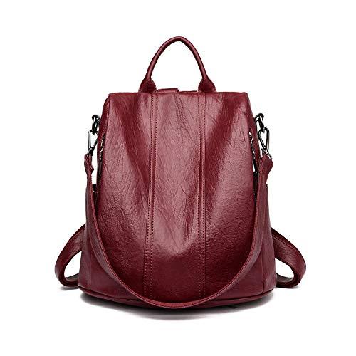 Hopereo - Mochilas de piel impermeable antirrobo para mujer, color Rojo, talla Talla única