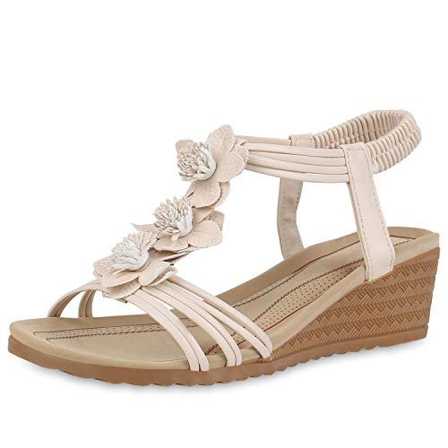 SCARPE VITA Damen Sandaletten Keilsandaletten Sommerschuhe Keilabsatz Sandalen Leder-Optik Blumen Schuhe Wedges 191884 Creme 36