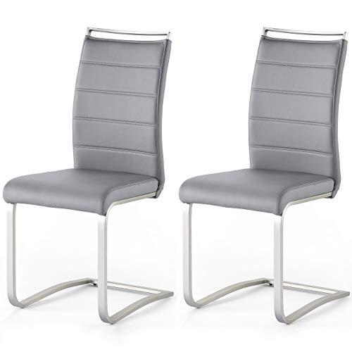 Robas Lund Esszimmerstühle 2er Set Schwingstuhl Grau, Esszimmerstuhl Stuhl Pescara