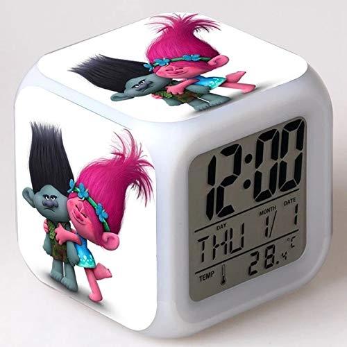fdgdfgd Bonito muñeco de Anime, Reloj Despertador LED, Reloj Despertador Digital de 7 Colores con termómetro, Fecha