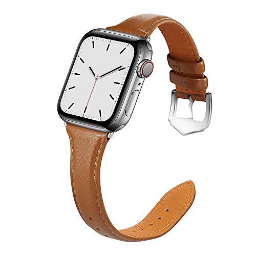 Firsteit Pulseira de substituição compatível com Apple Watch 38/40/42/44 mm de couro legítimo para meninas e meninas luxuosas e finas da moda para iWatch SE Series 6/5/4/3/2/1 (marrom, 38 mm/40 mm)