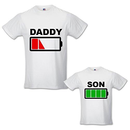 Coppia di T-Shirt Magliette Papa' E Figlio/Figlia Idea Regalo Festa del Papa' Carico Daddy Scarico Bianche Maschietto Uomo L - Bimbo 3-4 Anni