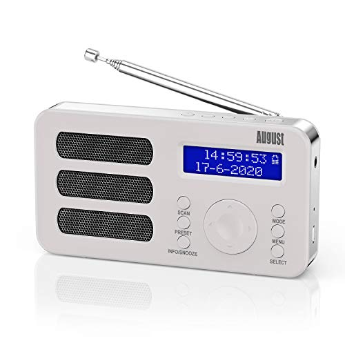 Radio Portátil Pequeña - August MB225 Radio Digital Dab+ y FM con RDS, 40 Presintonías, Dual Alarma, Función Snooze y Sleep Timer, Estéreo Mono FM Radio con 2000mAh Batería Recargable