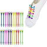 24 pcs Lazy Tying-Free Elastic Shoelaces, Laces Special No Tie Rubber, for Kids and Adults, Elastic Shoelaces for Sneakers (color)
