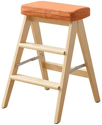 DNSJB step stool, Taburete plegable multifunción de madera de 3 pasos, escalones, taburete de cocina, biblioteca, oficina (naranja), alfombrilla desmontable (color de madera)