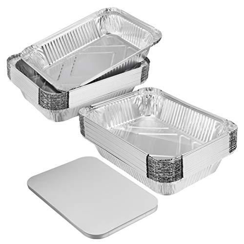 BESTONZON 20 robuste Pfannen aus dicker Aluminiumfolie mit Deckeln zum Kochen, Braten, Backen – 22,9 x 43 x 4,6 cm