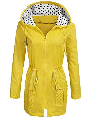 Soteer Rain Jacket Women's Waterproof Raincoat with Hood Lightweight Packable Ladies Outdoor Hooded Windbreaker,Yellow,Small