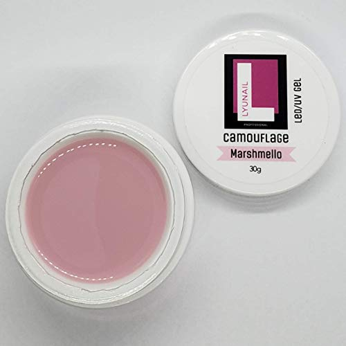 LYUNAIL Professional Camouflage Gel (Marshmelo), Color Builder Gel for strengthening natural nails and nail extension, hard gel LED/UV, large volume 30 g, nail styling, nail modeling, nail art