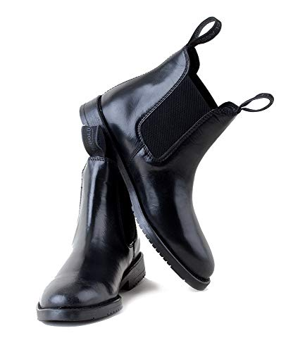 Rhinegold Comfey Classic Leather Jodhpur Boots-6-Black