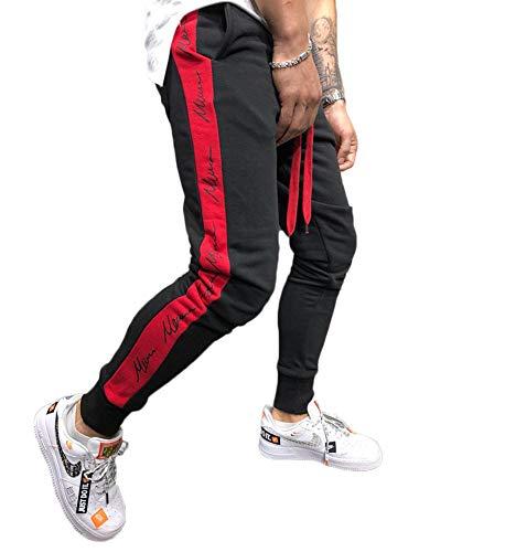 Shawnlen Männer Casual Skinny Track Pants Slim Fit Elastische Taille Kordelzug Slack Bottoms Jogginghose Gym Jogger Fitness Trainingsanzug mit Taschen S-2XL (XL, schwarz mit rot)