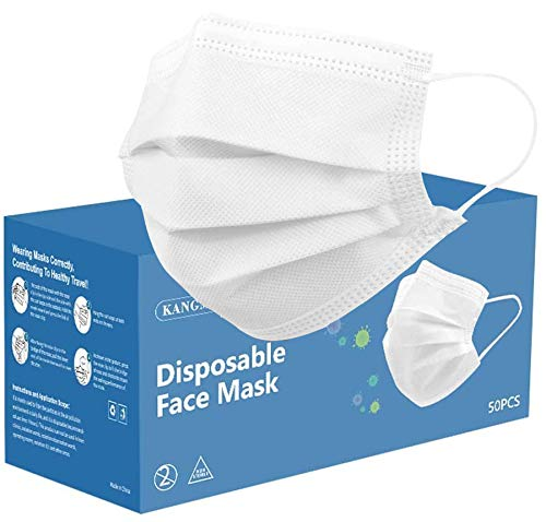 Disposable Face Masks White, [Pack of 50] 3-PLY Protective Cover Masks with Earloop, Breathable Mouth Cover 50PCS (White)