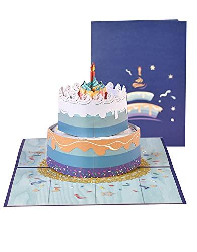 Biglietti Augurali Compleanno, 3D Popup Biglietto di Auguri Torta di Compleanno, Biglietto di Auguri...