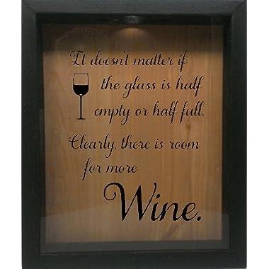 Wicked Good Decor Wooden Shadow Box Wine Cork/Bottle Cap Holder 9x11 - It Doesn't Matter If The Glass Is Half Empty (Ebony w/Black)