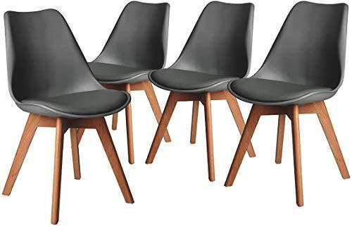 CAMBIA TUS MUEBLES - Pack de 4 sillas comedor salón TULIPA, silla de comedor con asiento acolchado y patas de madera haya, respaldo ergonomico envio desde España, 24/48h (Gris)