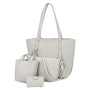 LANSKRLSP Borsa Donna Elegante,4 Pezzi Borsa Donna Modello in Pelle Borsa Tracolla + Body Bag + Borsetta + Portafoglio