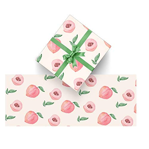 Wrapping Paper Peach Fruit Watercolor for Christmas,Birthday,Valentines Day,Bridal or Baby Showers Gift- 3Rolls - 58inch x 23inch Per Roll