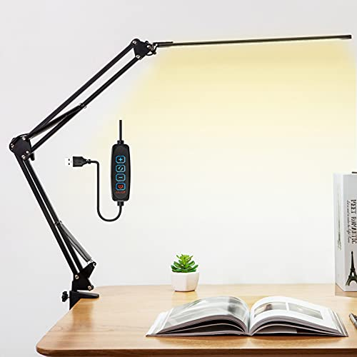 Lámpara de escritorio LED de 12 W, lámpara arquitecta, brazo ajustable, cable USB, protección ocular, 3 temperaturas de color, flexible, lámpara de pinza para oficina, lectura, estudio, negro