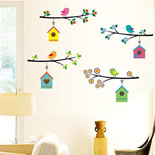 Kinderkamer Decal behang, Creatieve Cartoon Gekleurde Twig Vogelhuisje Diy Vinyl Muurstickers Peel En Stick Verwijderbare Muurstickers Voor Kinderen Kinderkamer Woonkamer