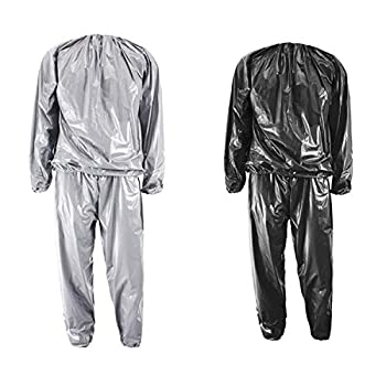 GOLD XIONG PADISHAH Heavy Duty Fitness Weight Loss Sweat Sauna Suit Exercise Gym Anti-Rip Black,XXXL