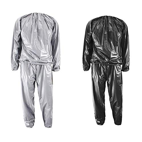 GOLD XIONG PADISHAH Heavy Duty Fitness Weight Loss Sweat Sauna Suit Exercise Gym Anti-Rip(Silver,XXL)