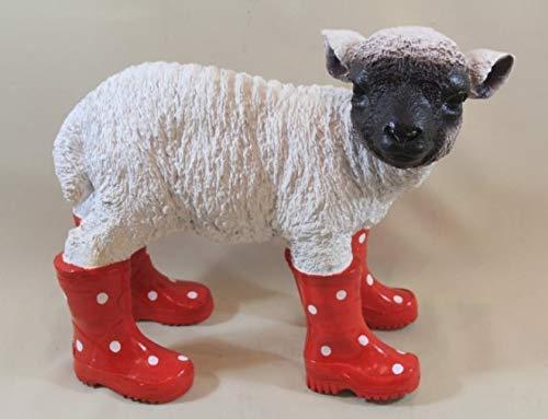 Vamundo Lustiges Deko Schaf, stehend mit Gummistiefel ROT - wetterfest für Innen und Außen